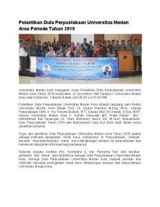 Pelantikan Duta Perpustakaan Universitas Medan Area Periode Tahun