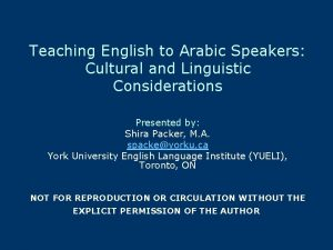 Teaching English to Arabic Speakers Cultural and Linguistic