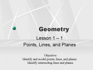 Geometry Lesson 1 1 Points Lines and Planes