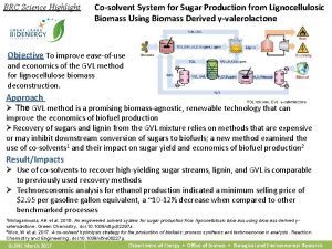 BRC Science Highlight Cosolvent System for Sugar Production