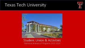 Texas Tech University Student Union Activities Statistical Analysis