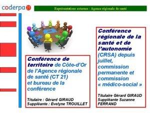 Reprsentations externes Agence rgionale de sant Confrence rgionale