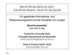 BAUFORUM BERLIN 2001 Zukunft des Bauens Bauen fr