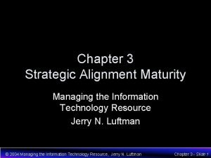 Chapter 3 Strategic Alignment Maturity Managing the Information