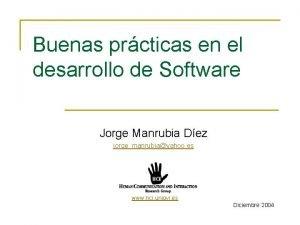 Buenas prcticas en el desarrollo de Software Jorge