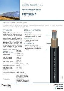 Industrial Specialties Solar Photovoltaic Cables PRYSUNTM SOLAR PV