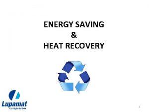 ENERGY SAVING HEAT RECOVERY 1 ENERGY SAVING In