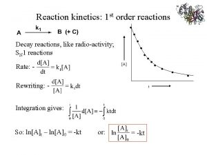 Reaction kinetics 1 st order reactions Decay reactions