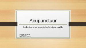 Acupunctuur Ondersteunende behandeling bij pijn en zwakte Dierenarts