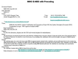 MIMO EMBS with Precoding Document Number IEEE S