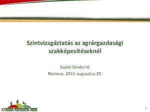 Szintvizsgztats az agrrgazdasgi szakkpestseknl Szab Sndorn Rckeve 2013
