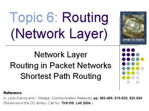 Topic 6 Routing Network Layer Network Layer Routing