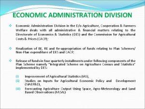 ECONOMIC ADMINISTRATION DIVISION v Economic Administration Division in