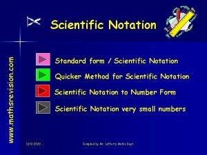www mathsrevision com Scientific Notation Standard form Scientific