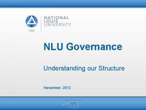 NLU Governance Understanding our Structure November 2012 2