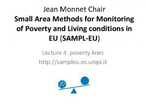 Jean Monnet Chair Small Area Methods for Monitoring