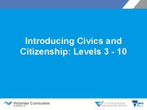 Introducing Civics and Citizenship Levels 3 10 Outline