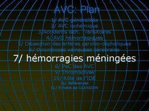 AVC Plan 1 AVC gnralits 2 AVC ischmique