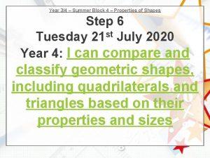Year 34 Summer Block 4 Properties of Shapes