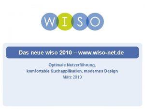 Das neue wiso 2010 www wisonet de Optimale