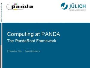 Mitglied der HelmholtzGemeinschaft Computing at PANDA The Panda