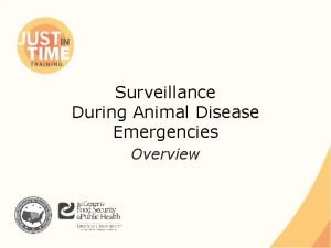Surveillance During Animal Disease Emergencies Overview Surveillance Ongoing