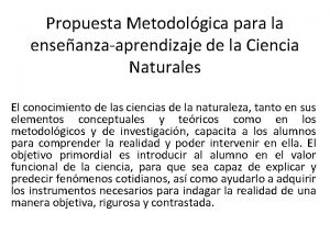 Propuesta Metodolgica para la enseanzaaprendizaje de la Ciencia