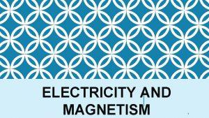 ELECTRICITY AND MAGNETISM 1 ELECTRICITY AND MAGNETISM SPS