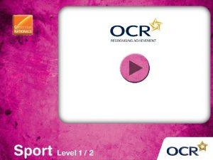 OCR Cambridge National in SPORT SCIENCE Level 1
