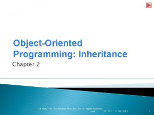 ObjectOriented Programming Inheritance Chapter 2 1992 2011 by