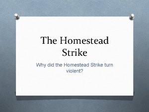 The Homestead Strike Why did the Homestead Strike