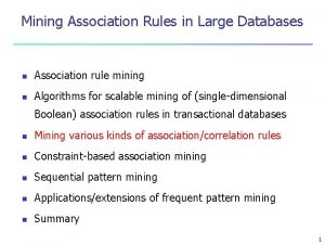 Mining Association Rules in Large Databases n Association