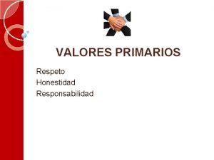 VALORES PRIMARIOS Respeto Honestidad Responsabilidad VALORES PRIMARIOS HONESTIDAD