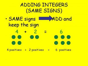 ADDING INTEGERS SAME SIGNS SAME signs keep the