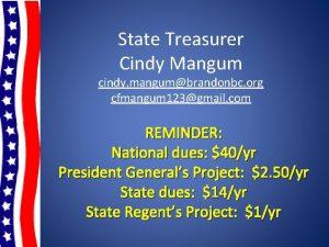 State Treasurer Cindy Mangum cindy mangumbrandonbc org cfmangum
