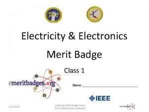 Electricity Electronics Merit Badge Class 1 Name 1132020