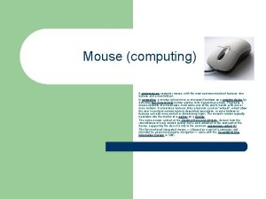 Mouse computing A contemporary computer mouse with the