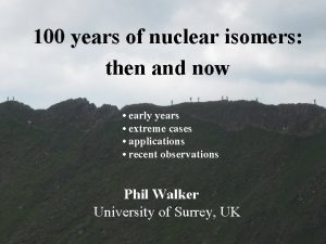 100 years of nuclear isomers then and now