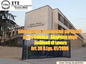 1 Docente Prof Ing Giovanni Del Prete Presentazione