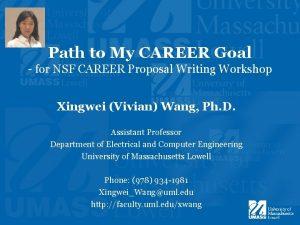 Path to My CAREER Goal for NSF CAREER