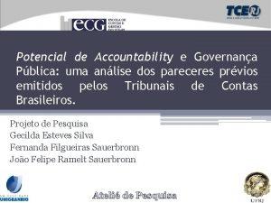 Potencial de Accountability e Governana Pblica uma anlise