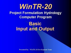 Win TR20 Project Formulation Hydrology Computer Program Basic