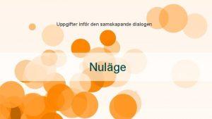 Uppgifter infr den samskapande dialogen Nulge Dokumentera ert