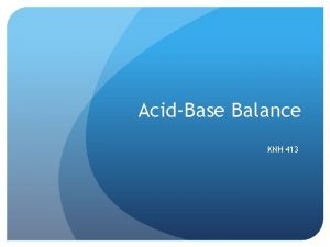 AcidBase Balance KNH 413 AcidBase Balance Acids Donate