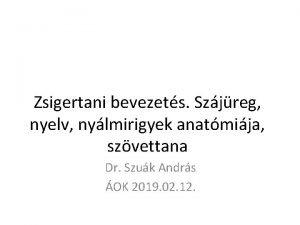 Zsigertani bevezets Szjreg nyelv nylmirigyek anatmija szvettana Dr