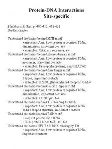 ProteinDNA Interactions Sitespecific Blackburn Gait p 400 415