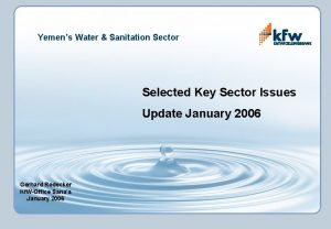 Yemens Water Sanitation Sector Selected Key Sector Issues