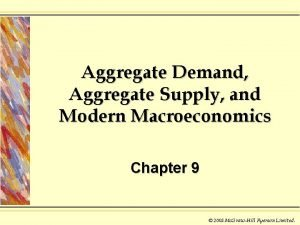 Aggregate Demand Aggregate Supply and Modern Macroeconomics Chapter
