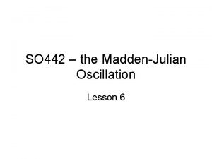 SO 442 the MaddenJulian Oscillation Lesson 6 What