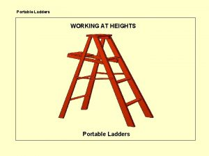 Portable Ladders WORKING AT HEIGHTS Portable Ladders Portable